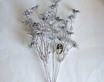 Kitsch Plastic Silver Flowers for Crafts or Display - Four Stems of Vintage Plastic Flowers Ideal for Christmas Crafting