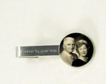 Engravable Sterling Silver Photo Tie Clip