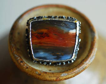 Petrified Wood Ring, Picture Stone Natural, Sterling Silver Keum Boo, Ocean Storm Jewelry, Bold Large Artisan, Wearable Art Sculpture Unique