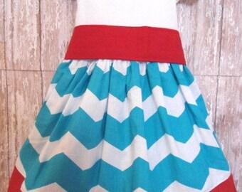 Girls Turquoise Chevron Dress, Birthday Dress, Girls Dress, Ready To Ship, Size 12M
