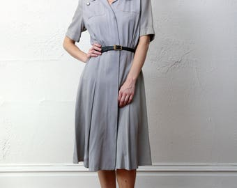 SALE Grey Shirtwaist Dress 1940s