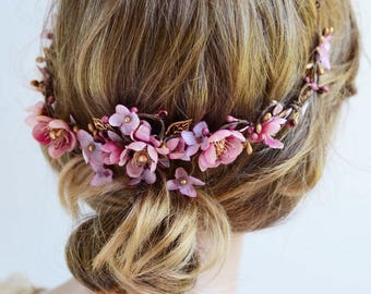 dusty pink and gold hair vine, mauve wedding, floral hair comb, dusty pink hair flower, bridal hair comb, floral hair piece, Swarovski