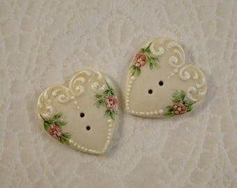 Scroll Heart Button set of 2