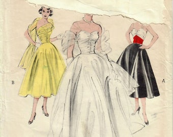 1950s Butterick 6444 Vintage Sewing Pattern Misses Formal Gown, Evening Gown, Prom Dress, Wedding Dress, Stole Size 12 Bust 30
