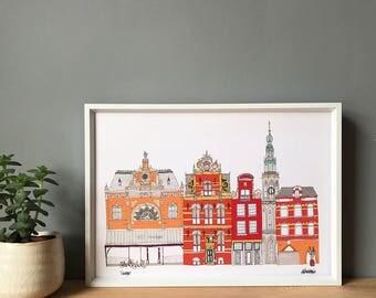 Groningen A3 Print - The Netherlands - Architecture Print - Groningen Cityscape