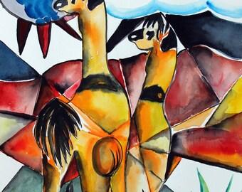 "Frolic -  Original Watercolor -  14"" x 20"" Llama, Peru, Mountain"