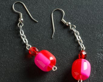 50% OFF SALE Red/Pink Vintage Candy Drop Lucite Earrings, Plastic Barrel & Glass Beads, Silver Chain, Silver Plated Ear Hooks, Retro Jewelry