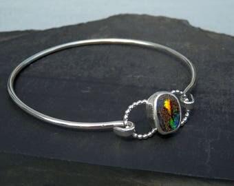 Boulder opal bracelet / opal bracelet / opal jewelry / October birthstone / Australian opal jewelry / bangle bracelet / ready to ship / gift