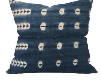 Vintage African Indigo Mudcloth Pillow | CLASSIC 18x18