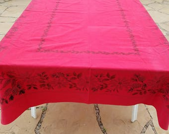 "Vintage Xmas Red Tablecloth, Screenprinted Border, Heavy Cotton, 79x53"", Poinsettias and Pinecones"