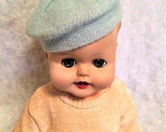1950s Vintage Baby's Blue Knit Beret Hat