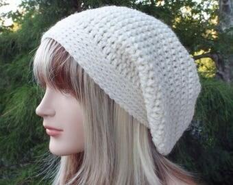 Winter White Slouchy Beanie, Womens Crochet Hat, Oversized Slouch Beanie, Chunky Hat, Baggy Beanie, Slouchy Hat, Winter Hat, Slouch Hat