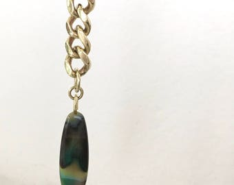 Green Yellow Agate with Chunky Brass Chain Single Earring