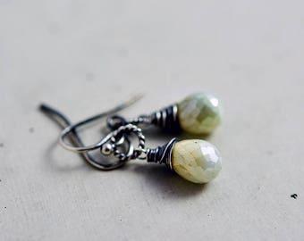 Sage Mist Earrings, Crystal Drop Earrings, Mint Green Dangle Earrings