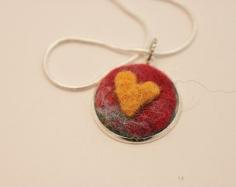 Felted Heart Necklace,Heartscapes Pendant Necklace, Needle Felted Heart  Necklace, Silver Heart Necklace #3368