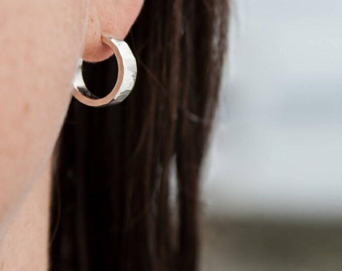 Sterling Silver Hoop Earrings, 16x4mm
