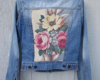 Upcycled Denim Jacket Vintage 40's Glen Court Barkcloth Fabric Shabby Cottage Chic Blue Jeans Country Western Cowgirl Prairie Girl Boho