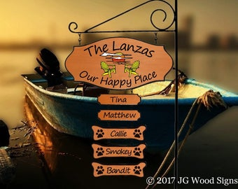 Sunset Chairs - Lake Family Name Sign - Cedar with Sign Holder option  JG Wood Signs Etsy Family Camping Sign Beach Lake Cottage Lanza