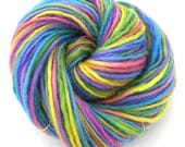 Hand Dyed Yarn Bulky Wool Yarn Single Ply Rainbow Colorful Bright Pastels Variegated Space Dyed Yarn Felting DIY Watercolors - Happy Day