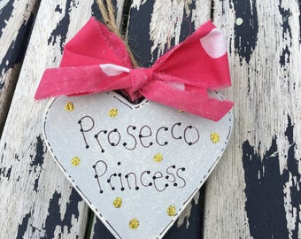 Wooden Heart Prosecco Princess with glitter polka dots