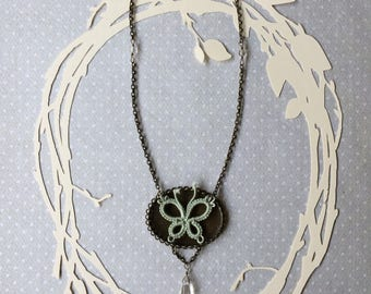 Popular Butterfly Lace Necklace with Oval Pendant and Tatting Lace Celadon Sage Mint Green Butterfly