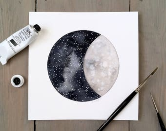 Moon and Stars 16 - Original Contemporary 6x6 Watercolour Painting - Astronomy Art, Night Sky - by Natasha Newton