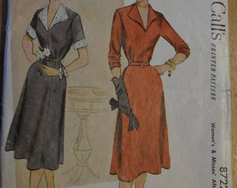 Vintage 1950s 51 McCall Sewing pattern A line day dress panel skirt collar. bust 34. waist 28 hip 37 UNCUT no 8722