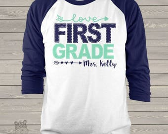 Teacher shirt - faux stitch any grade personalized adult raglan shirt for teachers  MSCL-040-R