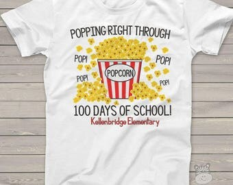Teacher shirt - 100 Days Smarter - popcorn 100 hundred day crew neck or vneck shirt  mscl-125