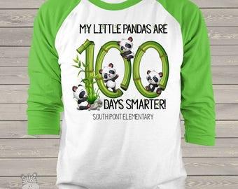 Teacher shirt - 100 Days Smarter panda unisex adult raglan shirt for teachers mscl-115-r