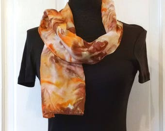 Abstract Coral Brown Silk Scarf, Hand Painted Silk, Small Scarf, Narrow Scarf, Handpainted Silk, 8x52 inches, Gift for Her, Gift for Women