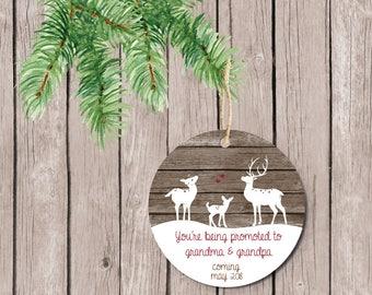 Pregnancy Announcement, Grandparent Ornament, Ornament for Grandparents, Christmas Ornament, Grandma and Grandpa, New Grandparents, Deer