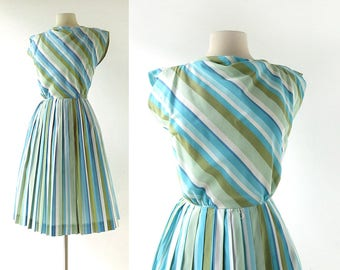 Vintage 1960s Dress | Cabana Stripe Dress | 60s Dress | XS