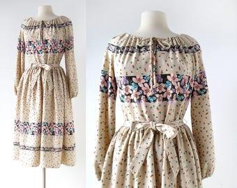 70s Floral Dress | Urban Bohemian | 1970s Dress | Medium M