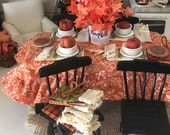 Miniature Dollhouse Farmhouse Lace Edged Kitchen Towels for Fall - 1:12 scale