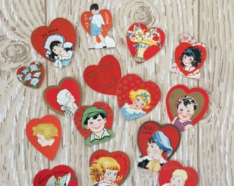 "Set of 15 Vintage 1930s Valentine Mini Cards, Gold ink, Sizes from 1"" to 2"" square on thick paper"