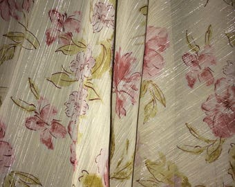 "1 yard x 58"" wide Sheer Metallic Polyester Floral Fabric Mauve Pink Lavender Olive on off-white background (sold BTY)"