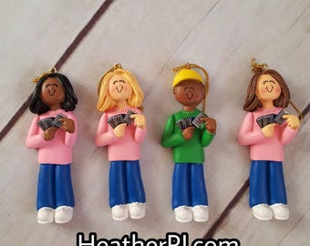 Card Player Collector Pokemon Trading Cards Boy Girl Teen Child African American Black Christmas Tree Ornamen