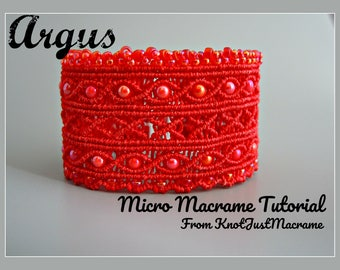Argus Cuff in Micro Macrame Tutorial - Bracelet  Pattern - Beaded Macrame - Jewelry Making - DIY