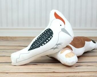 Animal Pillow, Plush Woodpecker. Woodland Nursery Decor, Woodland Crib Bedding. Baby Stuffed Animal, Rustic Nursery Decor, Kids Bedding