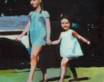 Sisters- girl painting - original painting -acrylic painting on canvas - illustration painting