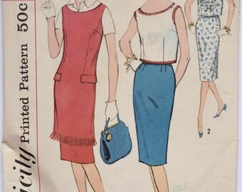 Simplicity 2829 Sleeveless Tunic Jumper Overblouse and Slim Skirt 1960s Vintage Sewing Pattern Bust 34 Partially Cut 60s Dress Pattern
