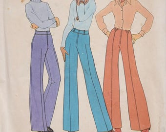 1970's Vintage Sewing Pattern Simplicity 7056 Wide Leg and Straight Leg Pants Waistband Topstitching Braided Belt Loops UNCUT Waist 26.5""