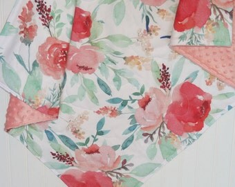 baby girl quilt- watercolor baby quilt- peony baby quilt -floral baby blanket-minky baby quilt- baby bedding-crib bedding- rose baby bedding