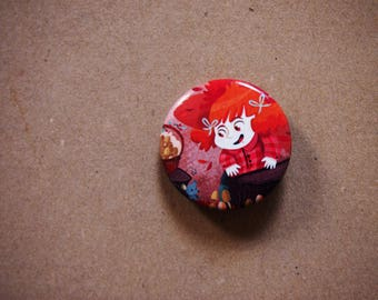 Autumn brooch, illustrated button pin