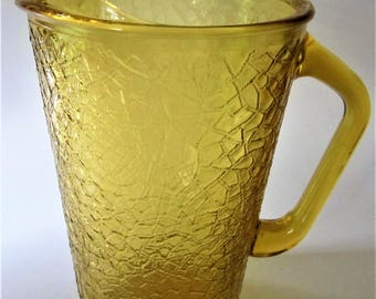 Juice Pitcher Anchor Hocking Amber Gold Refrigerator Glass Beer Crinkle Cut Crackle Ice Tea Water Man Cave Crystal Vintage Ice Lip Rare