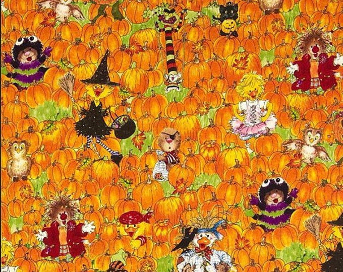 HALLOWEEN FABRIC, Suzy's Zoo Pumpkin Patch, Halloween Orange Multi Cotton Fabric by Hoffman