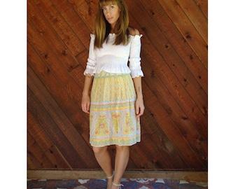 VALENTINO Yellow Floral Silk Printed High Waist Mini Skirt - Vintage 70s - SMALL S 4 6