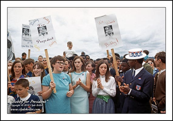 BOBBY FOR PRESIDENT, Robert F. Kennedy, Clyde Keller 1968 Photo