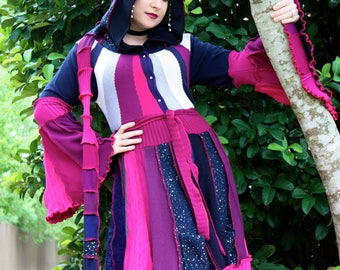 Ready to Ship- Intarsia- Upcycled Sweater Coat with a Medieval Liripipe Hood by SnugglePants- Extra Long